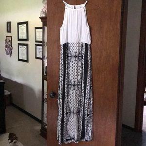 Black and white halter maxi dress